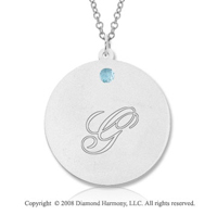 14k White Gold March/ Aquamarine Round Engraveable Pendant
