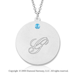 14k White Gold December/ Bl Topaz Round Engraveable Pendant