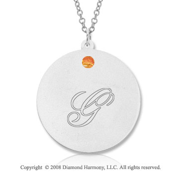 14k White Gold November/ Citrine Round Engraveable Pendant