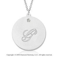 14k White Gold April/ Diamond Round Engraveable Pendant