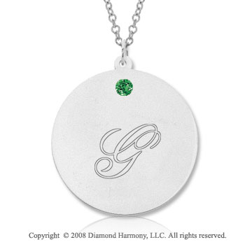 14k White Gold May/ Emerald Round Engraveable Pendant