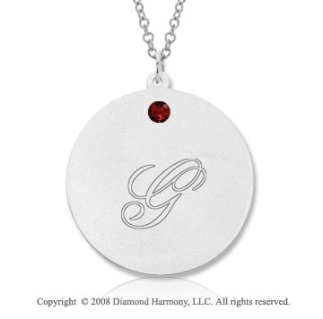 14k White Gold January/ Garnet Round Engraveable Pendant