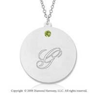 14k White Gold August/ Peridot Round Engraveable Pendant