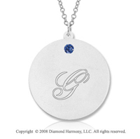 14k White Gold September/ Sapphire Round Engraveable Pendant