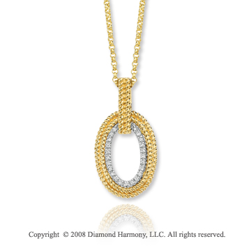 14k Two Tone Gold Elegant Diamond Oval Necklace