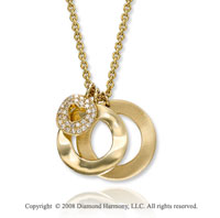 14k Yellow Gold Circular Diamond Necklace