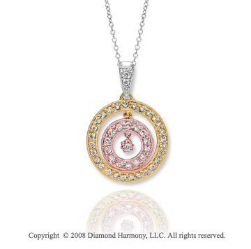 14k Tri Tone Stunning 1/4 Carat Diamond Cirlcle Necklace