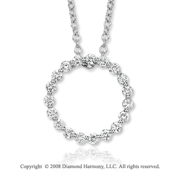 14k White Gold 0.65 Carat Diamond Circle Necklace