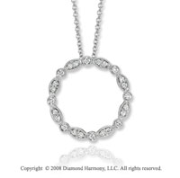 14k White Gold 1/4 Carat Diamond Circle Necklace