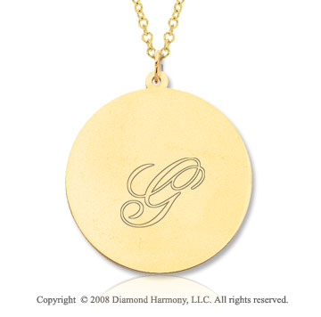 14k Yellow Gold 1 Inch Round Engraveable Pendant