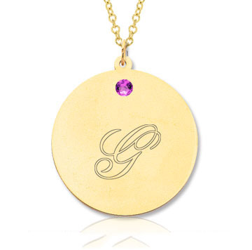 14k Yellow Gold June/ Alexandrite Round Engraveable Pendant