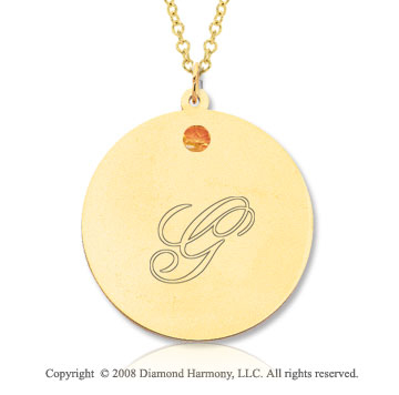 14k Yellow Gold November/ Citrine Round Engraveable Pendant