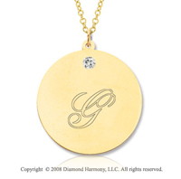 14k Yellow Gold April/ Diamond Round Engraveable Pendant