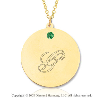 14k Yellow Gold May/ Emerald Round Engraveable Pendant