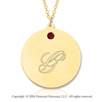 14k Yellow Gold January/ Garnet Round Engraveable Pendant