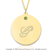 14k Yellow Gold August/ Peridot Round Engraveable Pendant