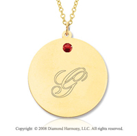 14k Yellow Gold July/ Ruby Round Engraveable Pendant