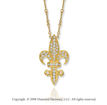 14k Yellow Gold Fleur de Lis 3/4 Carat Diamond Necklace