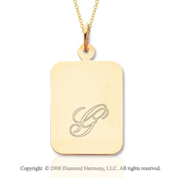 14k Yellow Gold 1 Inch Rectangle Engraveable Pendant