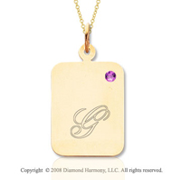 14k Yellow Gold June/ Alexandrite Rectangle Engraveable Pendant