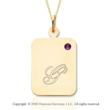 14k Yellow Gold February/ Amethyst Rectangle Engraveable Pendant