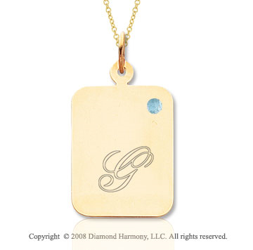 14k Yellow Gold March/ Aquamarine Rectangle Engraveable Pendant