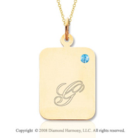 14k Yellow Gold December/ Blue Topaz Rectangle Engraveable Pendant