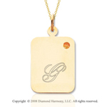 14k Yellow Gold November/ Citrine Rectangle Engraveable Pendant