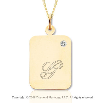 14k Yellow Gold April/ Diamond Rectangle Engraveable Pendant
