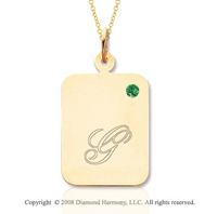 14k Yellow Gold May/ Emerald Rectangle Engraveable Pendant