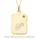 14k Yellow Gold August/ Peridot Rectangle Engraveable Pendant