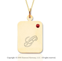 14k Yellow Gold July/ Ruby Rectangle Engraveable Pendant