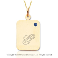14k Yellow Gold September/ Sapphire Rectangle Engraveable Pendant