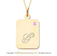 14k Yellow Gold October/ Tourmaline Rectangle Engraveable Pendant