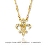 14k Yellow Gold Fleur de Lis Diamond Necklace
