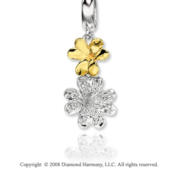 14k Two Tone Diamond Flower Necklace