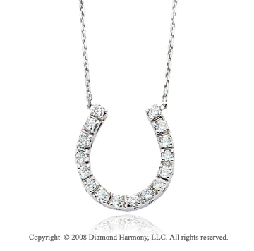 14k White Gold 1/3 Carat Diamond Horeshoe Necklace