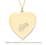 14k Yellow Gold 1 Inch Engraveable Heart Pendant