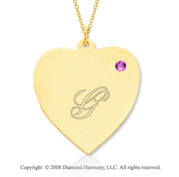 14k Yellow Gold June/ Alexandrite Engraveable Heart Pendant