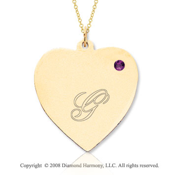 14k Yellow Gold February/ Amethyst Engraveable Heart Pendant