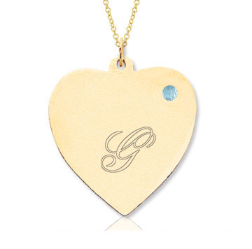 14k Yellow Gold March/ Aquamarine Engraveable Heart Pendant