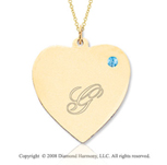 14k Yellow Gold December/ Bl Topaz Engraveable Heart Pendant