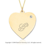 14k Yellow Gold April/ Diamond Engraveable Heart Pendant