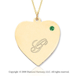 14k Yellow Gold May/ Emerald Engraveable Heart Pendant