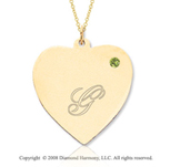 14k Yellow Gold August/ Peridot Engraveable Heart Pendant