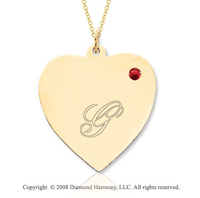 14k Yellow Gold July/ Ruby Engraveable Heart Pendant