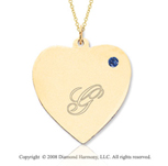 14k Yellow Gold September/Sapphire Engraveable Heart Pendant