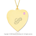 14k Yellow Gold October/Tourmaline Engraveable Heart Pendant