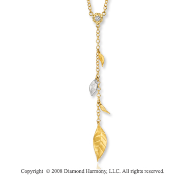 14k Two Tone Gold Leaf Diamond Necklace