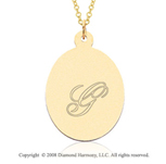 14k Yellow Gold 1 Inch Oval Engraveable Pendant